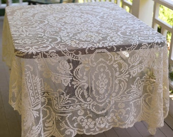 """Filet Crochet Tablecloth Vintage Lace Tablecloth 80"""" by 65"""" Darned Netting"""