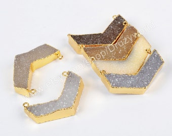 Wholesale Gold Plated Chevrons Natural Agate Druzy Geode Connector Two Bails Boomerang Natural Druzy Charm Handmade Drusy Gemstone G0610