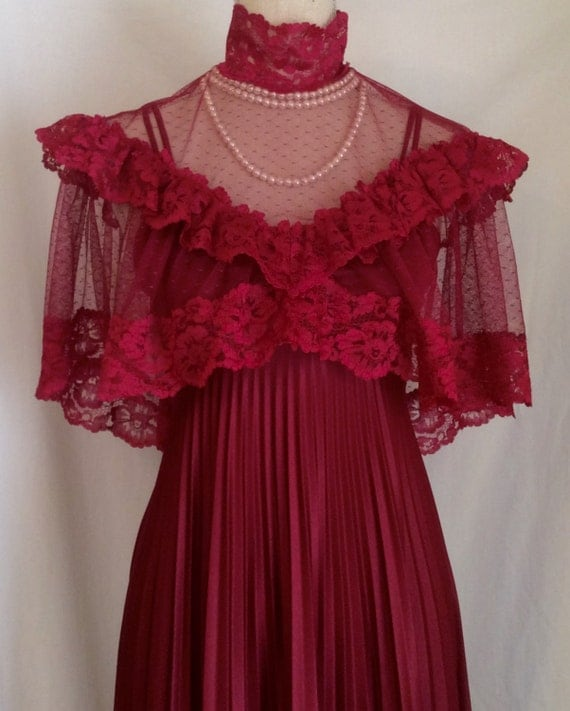 Vintage 1970s deep merlot jersey knit maxi dress with a for Jersey knit wedding dress