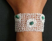 Crochet silver plated bracelet // non-tarnishable metal wire knitted like bracelet with malachite gemstones//