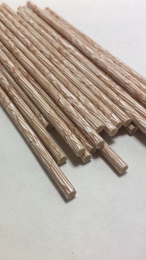 wooden wood grain paper straws rustic log camping natural