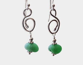 Green Sea Glass and Sterling Silver Earrings, English Beach Glass Jewelry, Hand Forged Metalwork Jewelry, Gift for Her