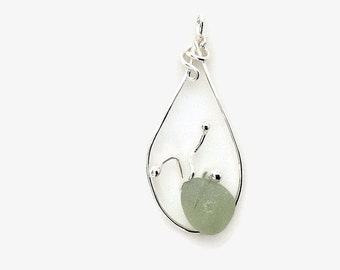 Beach Glass Pendant, English Sea Foam Sea Glass Necklace, Hand Forged Sterling Silver Jewelry