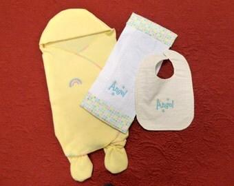 Baby Bunting with Booties,Burp Pad and Bib Set/Baby Wrap/Swaddle Blanket/Baby Shower Gift/Fleece Baby Blanket/Nursery Accessory/New Mom Gift