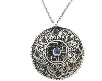 Endless Circle, Choker,Necklace,Ornate,Filagree,Blue Lapis,Crystals,Swarovski,Stained Glass,Wire Work,Wire Wrap,German Silver,Chain,Gifts