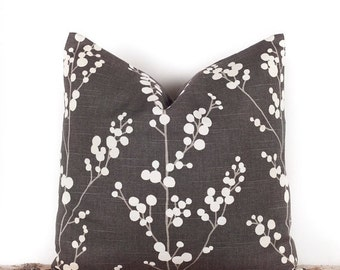 SALE ENDS SOON Japanese Blossom Throw Pillow Case, Modern Pillow Covers, Gray Floral Pillows, 16 x 16