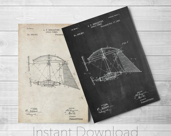 Aerial Vessel Printables, Aircraft, Kids Room Decor, Pilot Gift, Vintage Wall Art, PP0287