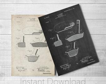 Golf Putter Printables, Golf Club Art, Golf Gift, Sports Decor, Vintage Golf, PP0475