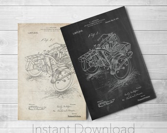 Motorcycle Sidecar Printables, Vintage Motorcycle, World War 2, Motorcycle Wall Art, Automotive Decor, PP0963