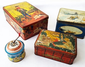 1950's French kids TIN BOXES / French decor/ Kids decor/ Childrens decor/ Retro decor/ Box decor/Mid century