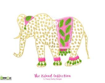 Elephant clip art, preppy clip art, Indian elephant, tropical clip art, watercolor clipart
