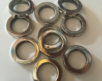 Modern Flat Square Metal Round Connector, Hoop,  Loop Ring - Bright Silver - 20mm OS Diam x 12mm IS Diam - Drilled - 06 per Order