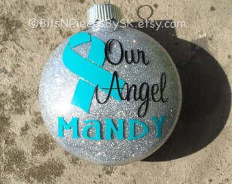 Cervical Cancer, Ovarian Cancer, Polycystic Ovarian Disease, Urterine Cancer Awareness Ribbon - Personalized Christmas Ornament