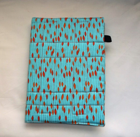 Removable Fabric Book Cover ~ Blue and orange fabric a notebook cover by alscraftycorner