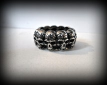 Skull ring-stainless skull ring-heavy biker ring-unisex ring