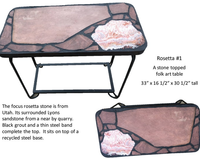 "Rosetta #1  33"" x 16 1/2"" x 30 1/2"" tall natural stone topped folk art side table"
