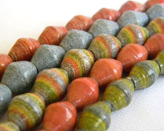 Paper Bead Jewelry Supplies - Paper Beads - Hand painted - Lot of 50 - #B405