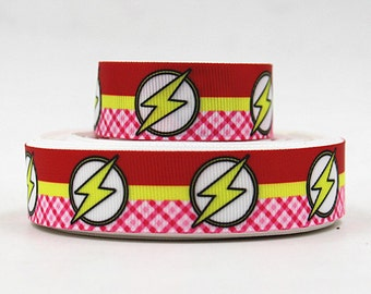 """7/8"""" wide 3 or 5 yards Flash ribbon/ Party favor/ decoration/Superhero"""