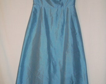 Blue Raw Silk Strapless Dress *SALE*