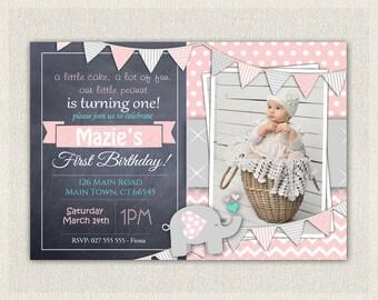 First Birthday Invitation Girls Pink Grey Elephant  Download 1st Birthday Photo Invitation Invites Chalkboard Bunting / DIY Digital *#38