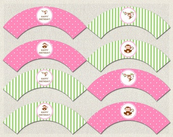 Monkey Cupcake Wrappers Birthday Pink Green 1st 2nd 3rd Printable Girls IV-1