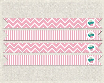 Straw Flags Printable Birthday Cupcake Aqua 1st 2nd 3rd Pink Girl IV-6