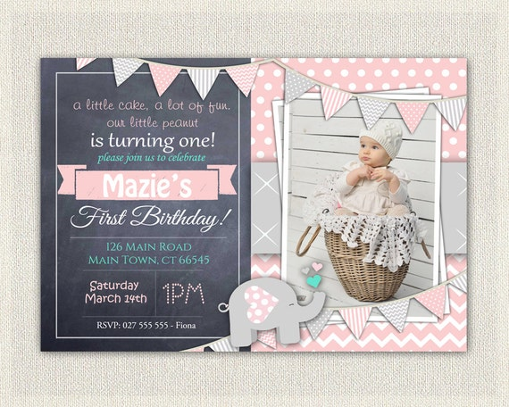 First Birthday Invitation Girls Pink Grey Elephant Download