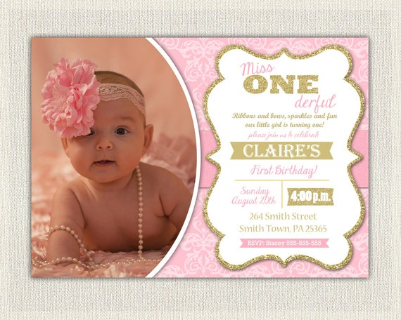 First Birthday Invitation Damask Princess Invitations Pink And - 1st birthday invitations gold and pink
