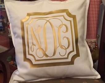 Monogrammed Decorative Throw Pillow Cover