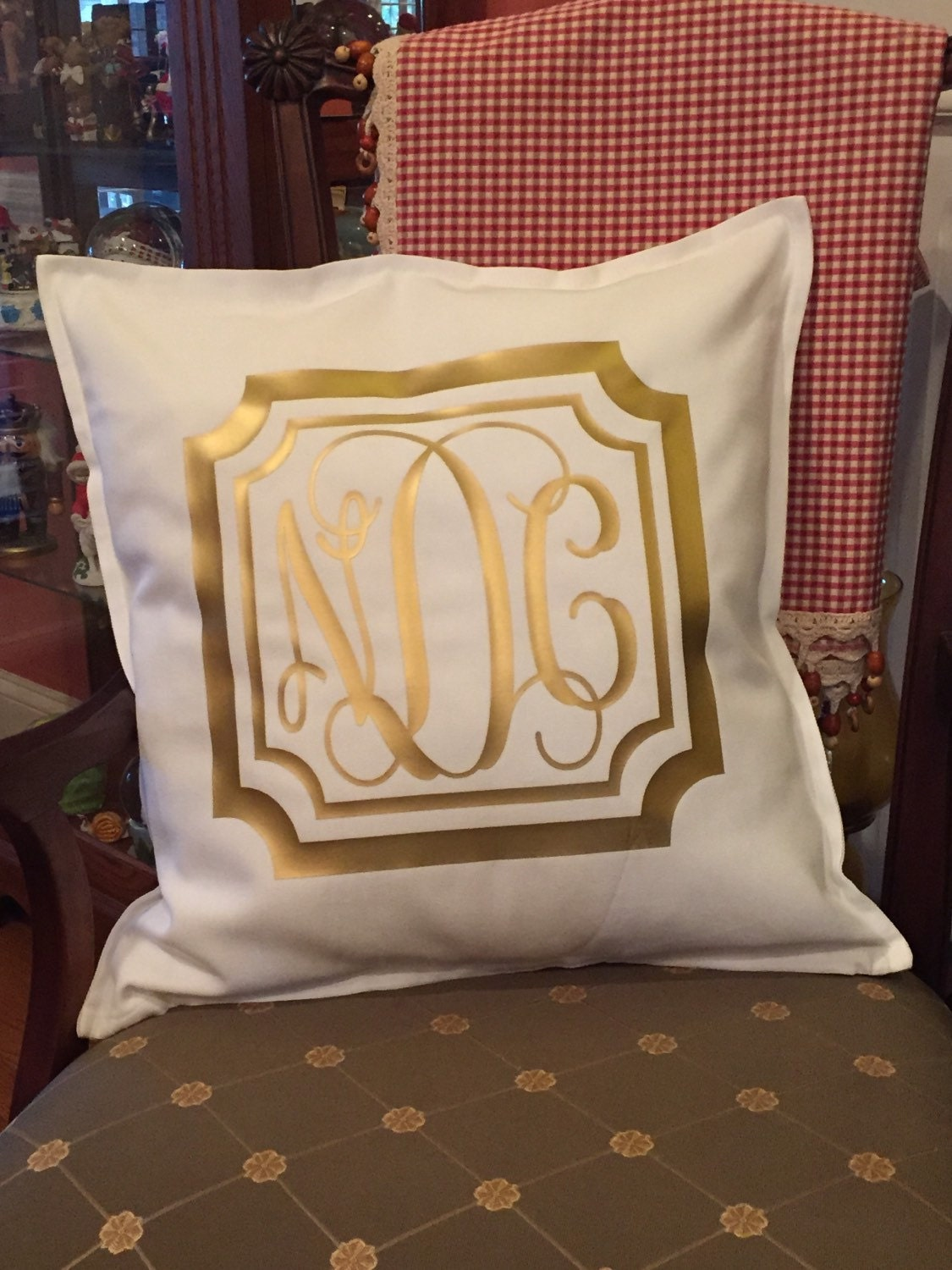 Monogram Throw Pillow Etsy : Monogrammed Decorative Throw Pillow Cover