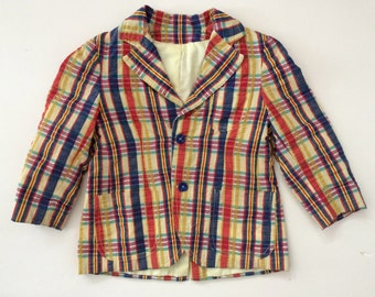 Boys Plaid Jacket - Great Madras Check Pattern & Resort Colors - Quality Cotton - Ages 4-6