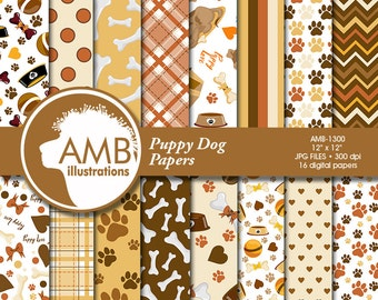 Puppy Dog Digital Papers, Dog digital backgrounds, Paws pattern papers, invites, card making and crafts, Commercial Use, AMB-1300