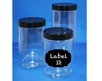 Three Plastic Jars With Chalkboard Labels - Free Shipping