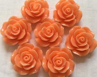 5 pcs 25 mm Cabochon Flowers,Orange,orange resin flower,orange resin cabochon,Flat back flower,big rose cabochon flower,orange rose cabochon