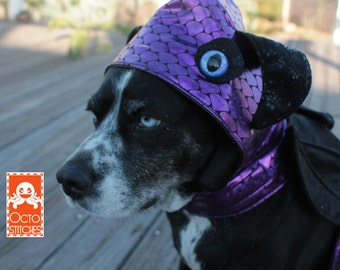 Ready to Ship - Small Dog Harness - Halloween Costume - Purple horned monster