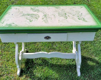 Vintage Enamel Trestle Table Part 32