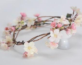 Woodland cherryblossom flower hair crown- adult - renfest - woodland wedding