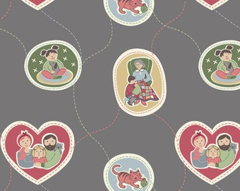 Lewis & Irene 'DISCOUNTED' Threaded with Love Patchwork Quilting Fabric A180.3 Family Grey