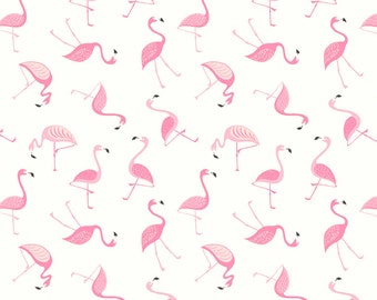 Half metre Lewis & Irene Patchwork Quilting Fabric Flamingo A133.1 White