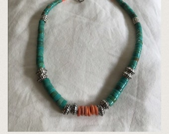 Vintage Turqoise, Coral, Sterling Silver necklace