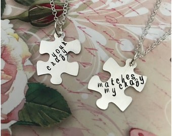 Personalized Jigsaw Puzzle Necklaces - Set of 2 Necklaces - Customized Gift for Best Friend - Hand Stamped Silver Hanging Puzzle Charm