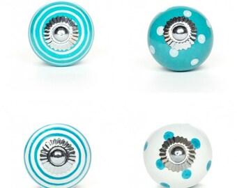 Drawer Knobs-Knobs-Cabinet Knobs-Dresser Knobs-Drawer Pulls-Ceramic Drawer Knobs-Turquoise