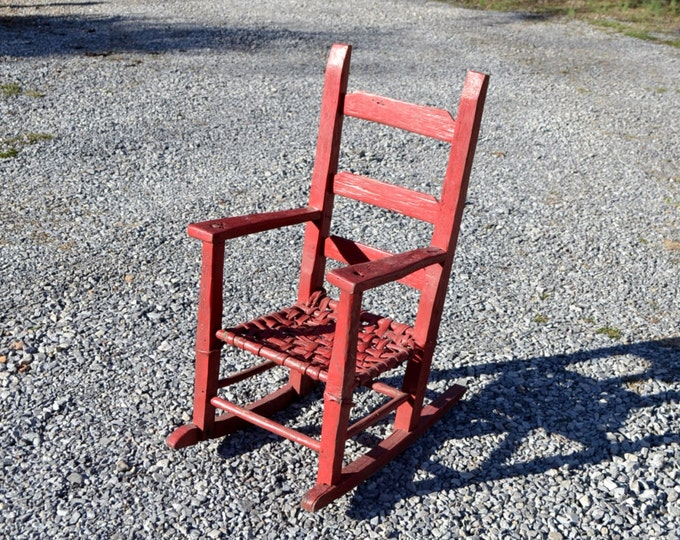 Vintage Childrens Wooden Rocking Chair Reed Seat Red Chippy Paint Rustic Home Decor PanchosPorch