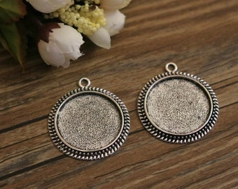 30mm Circle Cabochon Pendant Blank Photo Glass Cabochons Trays Cameo Bases Cabochon Bezels vintage silver antique bronze PTR30-A1018