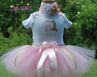 Ballerina 1st birthday girl  outfit,1st Birthday Ballerina Outfit,first birthday  ballet slippers,,one year old hand cut sewn includes bow