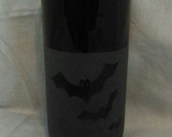 Bats//Glass Etched Drink//Black// Glass//Washable//Gothic//Display//Halloween