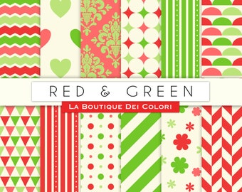 Red and Green Digital Paper, Cute Christmas seamless patterns Backgrounds Instant Download for Personal / Commercial Use clipart