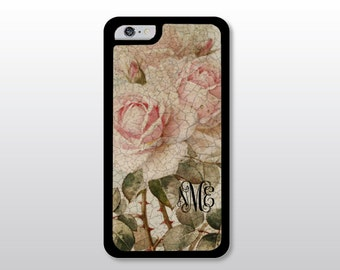 Floral iPhone 4/4S, iPhone 5/5S/5C, iPhone 6/6S or 6 Plus Case - Shabby Cottage Blush Pink Roses - Monogrammed Gift for Her