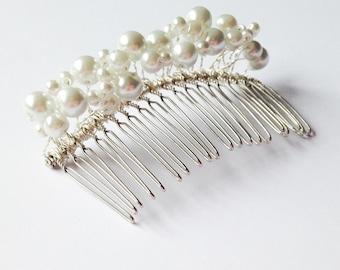 Ivory Pearl Barette, Beaded Hair Comb, White Hair Slide, Bridal Accessory, Wedding Comb, Bridesmaid Barette, Flowergirl Comb