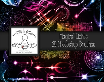 20% OFF Magical Lights Photoshop Brush Set (25 brushes) High Quality ~ Instant Download.